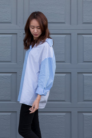 Oversized Slanted Button Up Shirt