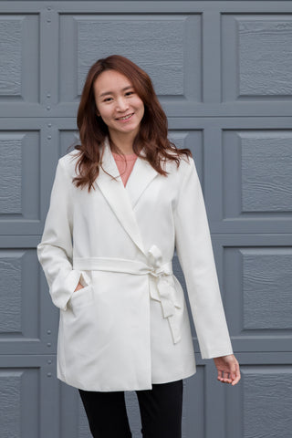 Long Blazer with Wrap Around Waistband