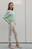Front Seam Slim Leg Trouser with Drawstring