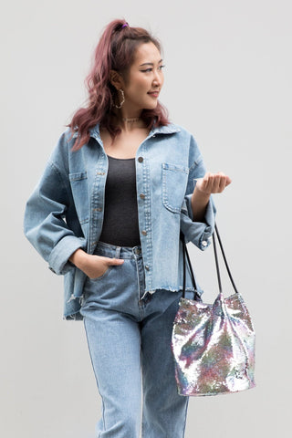 Oversized Denim Jacket with Back Print