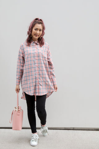 Oversized Checker Long Shirt
