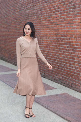 Knit Pleated Midi Dress Set