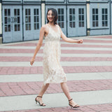 Feather Lace Dress with Cross Back Strap