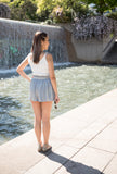 Metallic Pleated Flare Shorts
