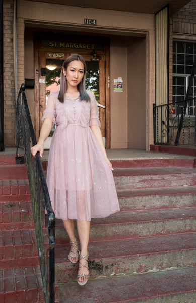 Sparkly Ruffle Tulle Dress with Pearl Buttons