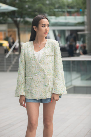Oversized Tweed Double-breasted Blazer