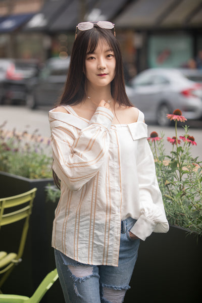 Oversized Drop Shoulder Half Stripe Shirt