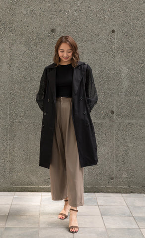 Puffy Tulle Sleeves Trench Coat