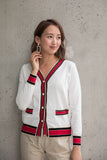 Red Contrasting Edge with Pearl Buttons Cardigan