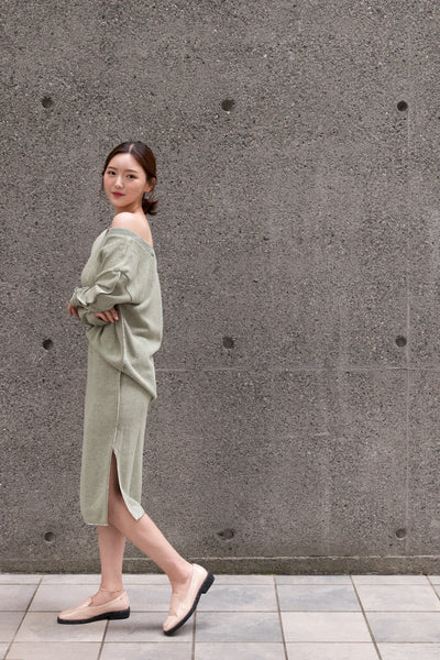V-neck Cross String Sweater with Satin Edges