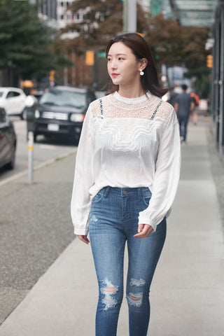 Front Lace Panel Silky Blouse
