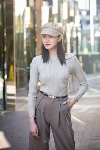 One Side Drop Shoulder Ribbed Sweater