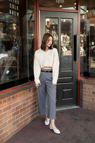 High-waisted Checker Wide Leg Pants with Belt