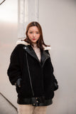 Shearling Motor Jacket with Fur Collar