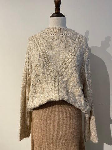 Sequin Knit Funnel Neck Sweater