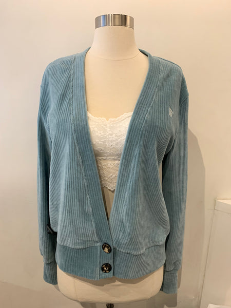 Velvet Stripe Cardigan with Two Buttons