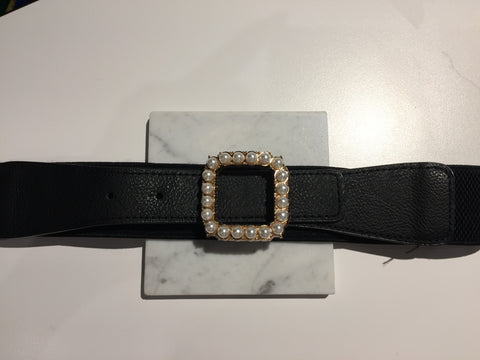 Elastic Black Belt with Square Pearl Buckle