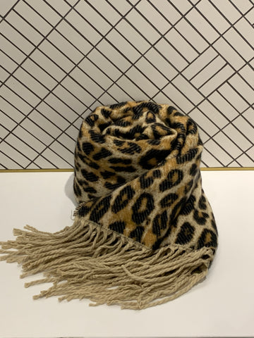 Leopard Print Scarf with Tassel Ends