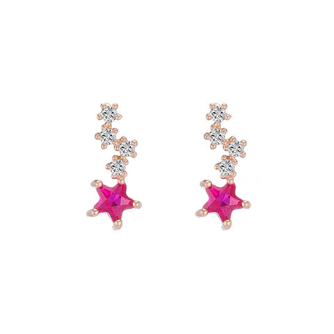 Pink Rhinestone Star Earrings