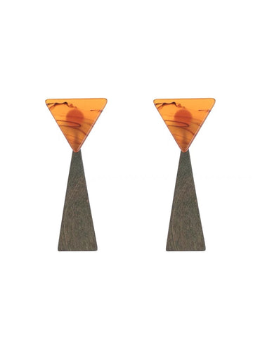Acrylic and Wooden Triangle Earrings