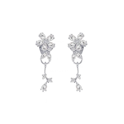 Rhinestone Flower Drop Earrings