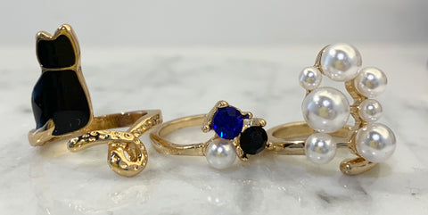 Pearl, Rhinestone and Cat Nail Ring Set