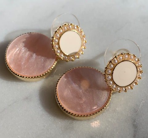 Pink Round with Pearls Earrings