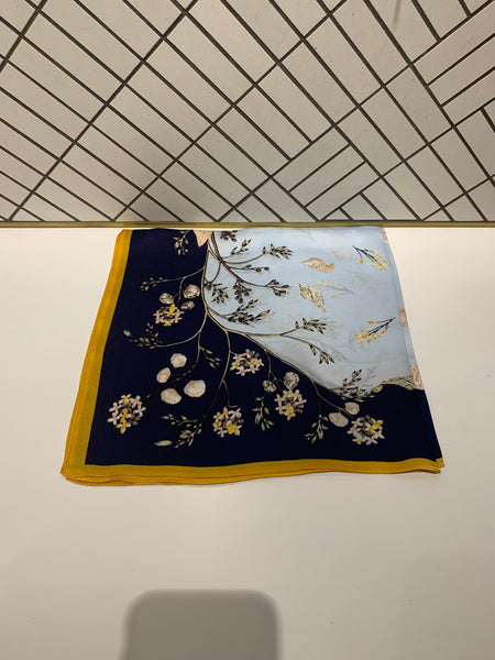 Patterned Square Silk Scarf