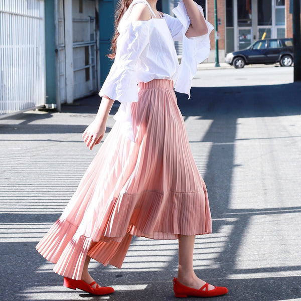 Pleated Maxi Skirt with Uneven Hem