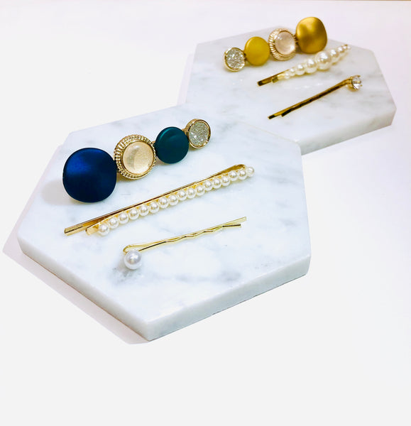 Colorful Metal Rounds and Pearls Hair Clip Set