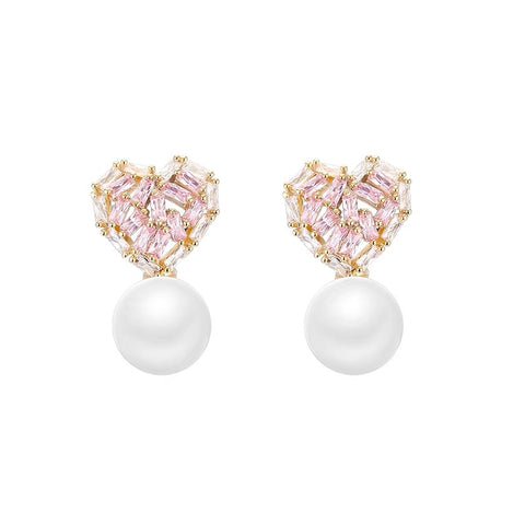 Rhinestone Heart and Pearl Earrings