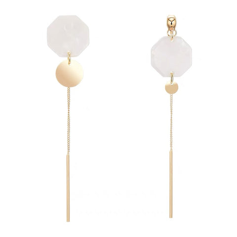 Asymmetrical Acrylic Rounds Long Earrings
