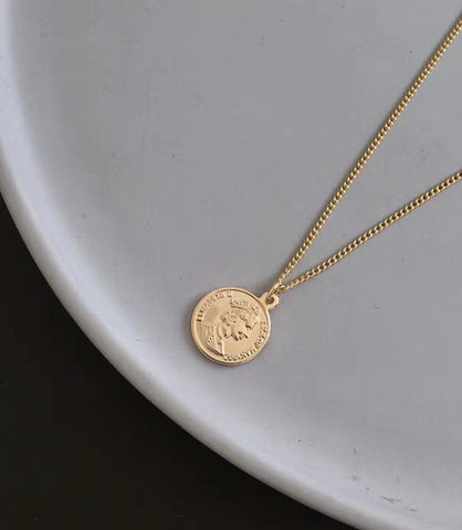 Long Round Coin Necklace