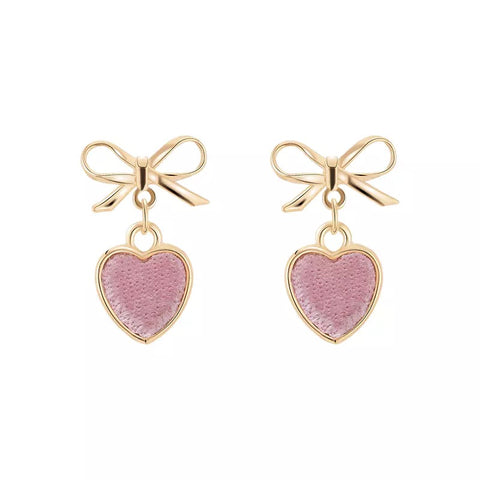 Velvet Heart and Metal Bow Earrings