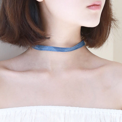 Thin Denim Choker