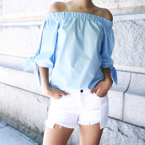Off Shoulder Bow Sleeve Top