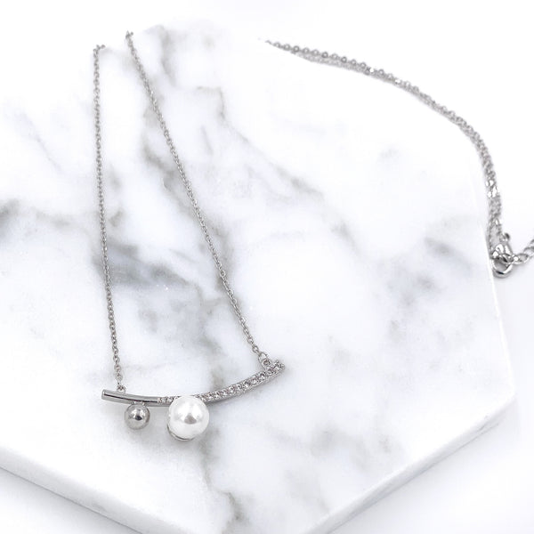 Rhinestone Curve Bar with Single Pearl and Ball Necklace