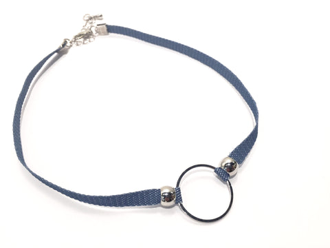 Denim Choker with Circle