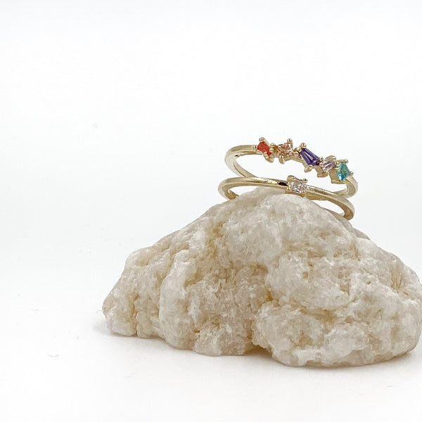 Two-layered Colorful Rhinestone Open Ring