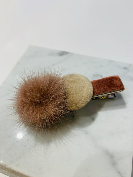 Velvet Round and Fur Ball Hair Clip