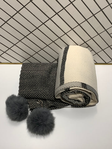 Thick Line Patterned Scarf with Fur Balls