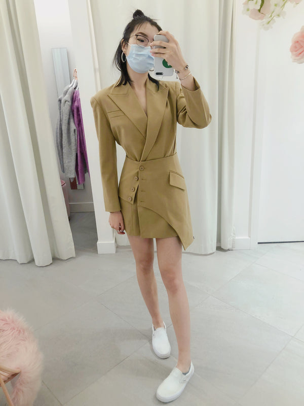 Asymmetrical Waist Wrap Blazer Dress