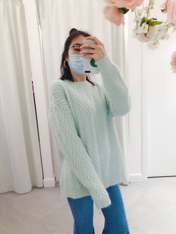 Oversized Contrasting Pattern Knit Sweater