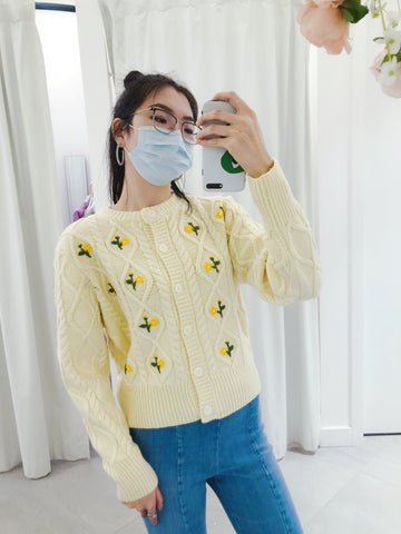 Flower Knit Button Up Cardigan