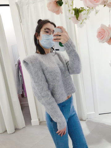 Puffy Shoulder Crewneck Sweater