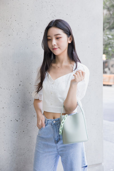 Heart Shape Neckline Lace Pattern Crop Top