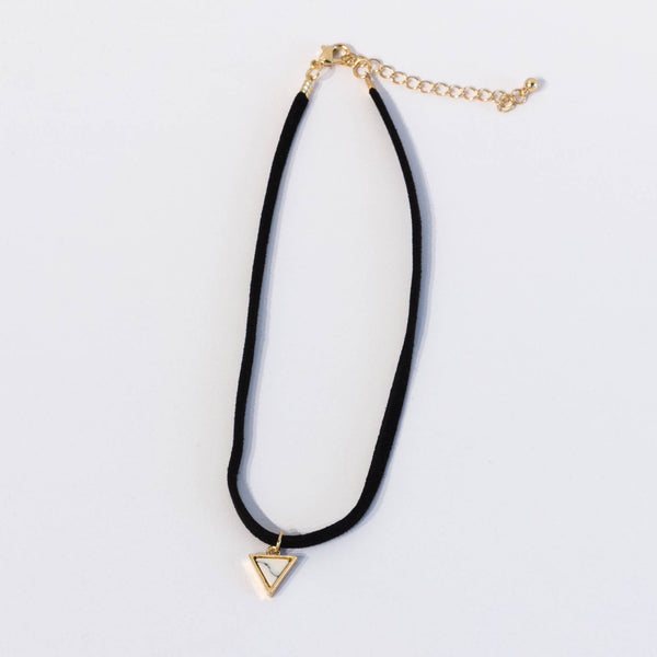 Suede Choker with Triangle Marble Stone