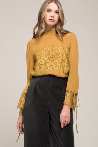 Lace Detail Tie Sleeve Top