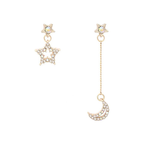 Asymmetrical Star and Moon Earrings