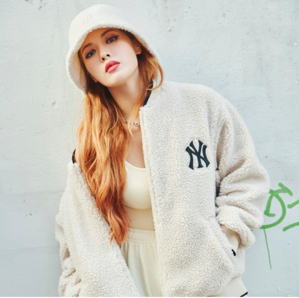Oversized Shearling NY Baseball Jacket